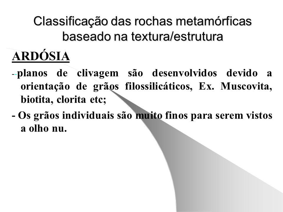 Classificação das rochas metamórficas baseado na textura/estrutura ARDÓSIA -- planos de clivagem são desenvolvidos devido a orientação de grãos filossilicáticos, Ex.