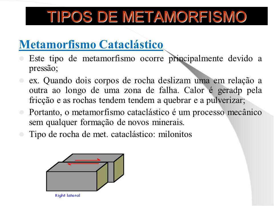 TIPOS DE METAMORFISMO Metamorfismo Cataclástico Este tipo de metamorfismo ocorre principalmente devido a pressão; ex.