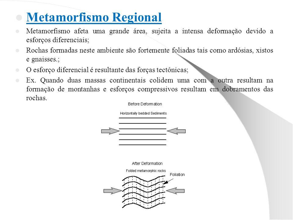 Metamorfismo Regional Metamorfismo afeta uma grande área, sujeita a intensa deformação devido a esforços diferenciais; Rochas formadas neste ambiente são fortemente foliadas tais como ardósias, xistos e gnaisses.; O esforço diferencial é resultante das forças tectônicas; Ex.