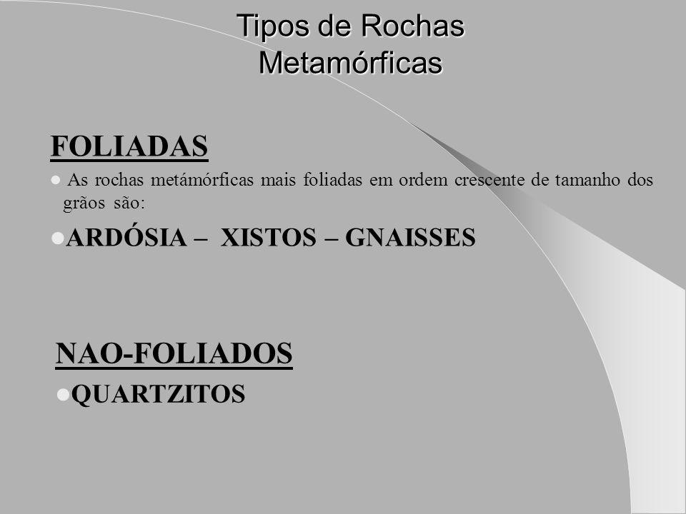 Tipos de Rochas Metamórficas FOLIADAS As rochas metámórficas mais foliadas em ordem crescente de tamanho dos grãos são: ARDÓSIA – XISTOS – GNAISSES NAO-FOLIADOS QUARTZITOS
