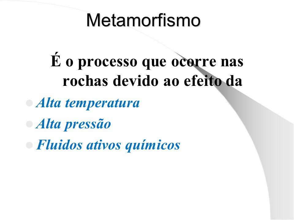 Metamorfismo É o processo que ocorre nas rochas devido ao efeito da Alta temperatura Alta pressão Fluidos ativos químicos