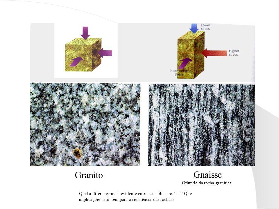 Granito Gnaisse Oriundo da rocha granítica Qual a diferença mais evidente entre estas duas rochas.