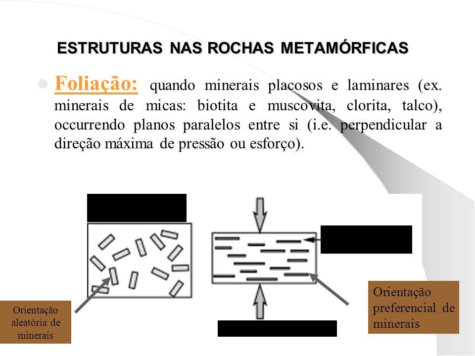ESTRUTURAS NAS ROCHAS METAMÓRFICAS Foliação: quando minerais placosos e laminares (ex.