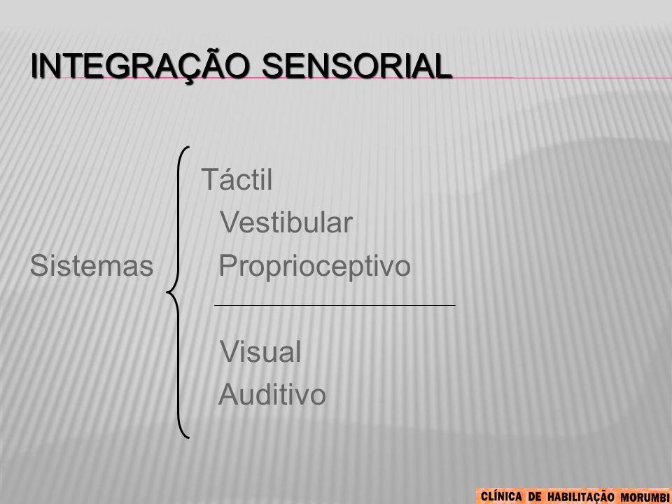 INTEGRAÇÃO SENSORIAL Táctil Vestibular Sistemas Proprioceptivo Visual Auditivo
