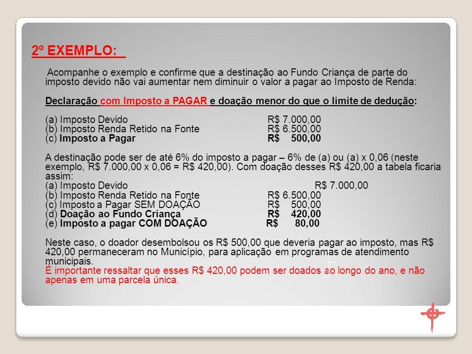 Procedimentos para Doações feitas até 31/12 DEPÓSITO PARA: Favorecido: Fundo Municipal dos Direitos da Criança e Adolescente de Arcoverde-PE.