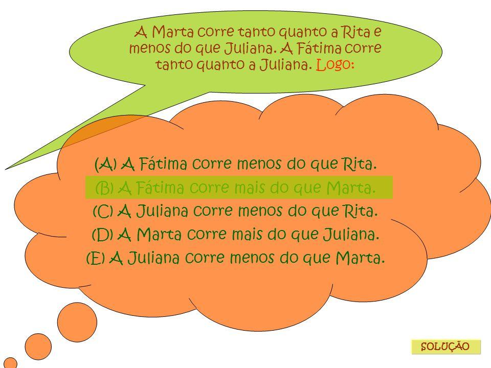 A Marta corre tanto quanto a Rita e menos do que Juliana. A Fátima corre tanto quanto a Juliana. Logo: ( A) A Fátima corre menos do que Rita. (B) A Fá