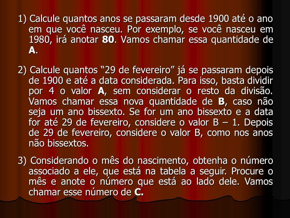 1) Calcule quantos anos se passaram desde 1900 até o ano em que você nasceu. Por exemplo, se você nasceu em 1980, irá anotar 80. Vamos chamar essa qua