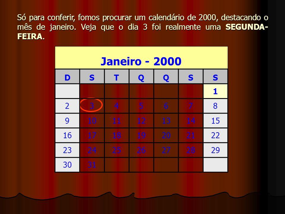 Só para conferir, fomos procurar um calendário de 2000, destacando o mês de janeiro. Veja que o dia 3 foi realmente uma SEGUNDA- FEIRA. Janeiro - 2000