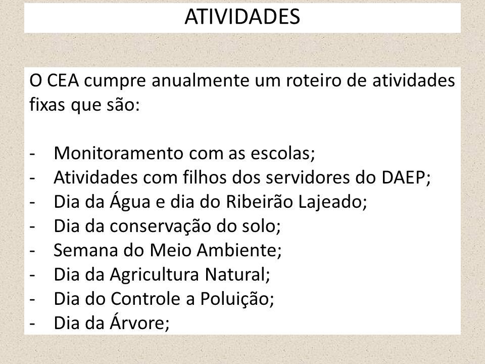 ATIVIDADES O CEA cumpre anualmente um roteiro de atividades fixas que são: -Monitoramento com as escolas; -Atividades com filhos dos servidores do DAE