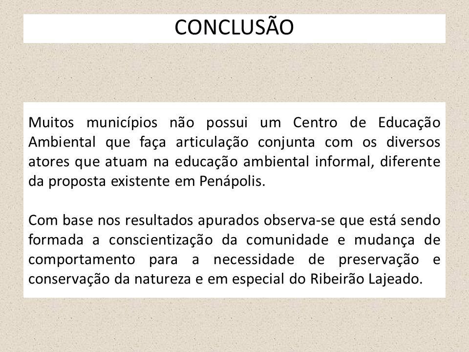 CONCLUSÃO Muitos municípios não possui um Centro de Educação Ambiental que faça articulação conjunta com os diversos atores que atuam na educação ambi