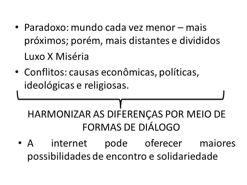 Paradoxo: mundo cada vez menor – mais próximos; porém, mais distantes e divididos Luxo X Miséria Conflitos: causas econômicas, políticas, ideológicas