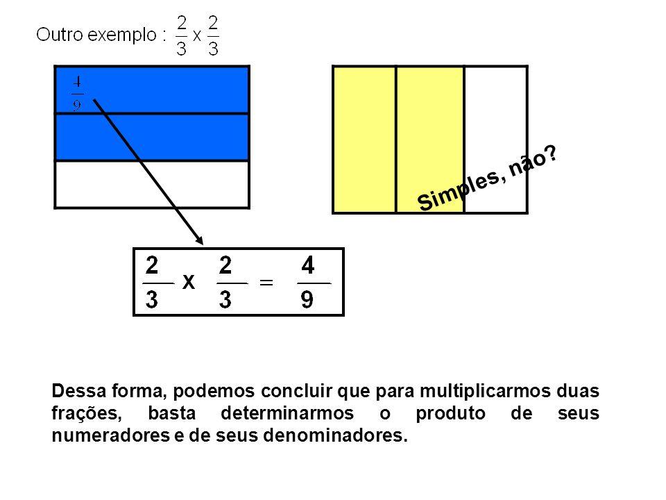 Dessa forma, podemos concluir que para multiplicarmos duas frações, basta determinarmos o produto de seus numeradores e de seus denominadores.