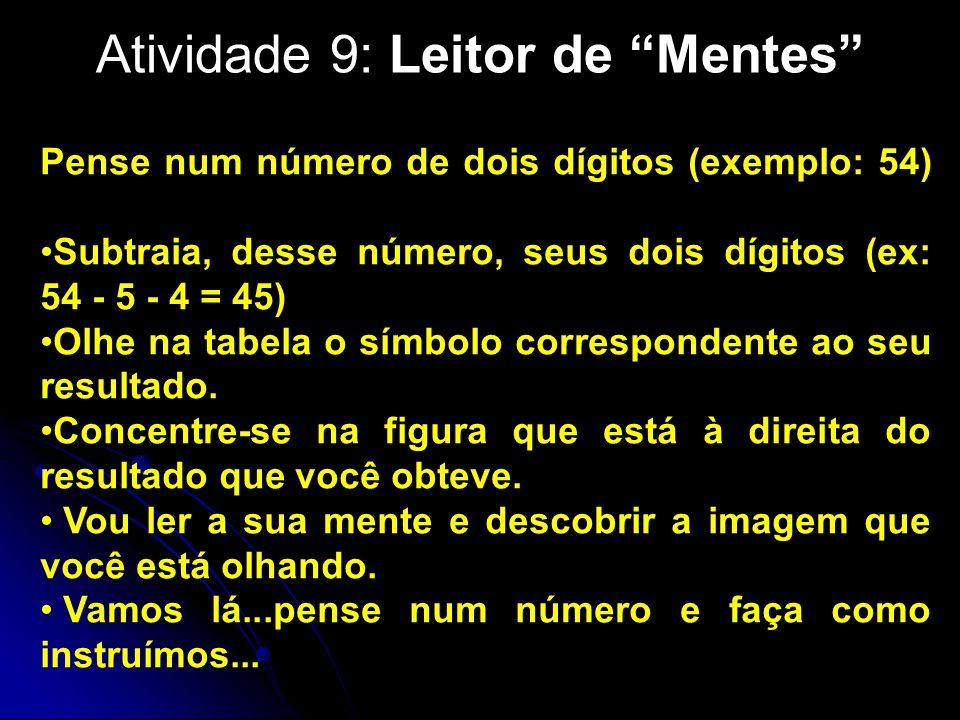 Atividade 9: Leitor de Mentes Pense num número de dois dígitos (exemplo: 54) Subtraia, desse número, seus dois dígitos (ex: 54 - 5 - 4 = 45) Olhe na tabela o símbolo correspondente ao seu resultado.