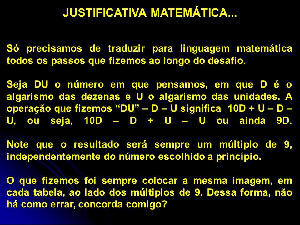 Só precisamos de traduzir para linguagem matemática todos os passos que fizemos ao longo do desafio.