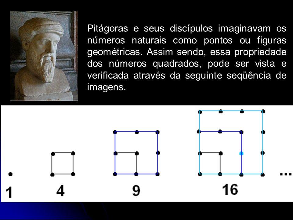 Pitágoras e seus discípulos imaginavam os números naturais como pontos ou figuras geométricas.