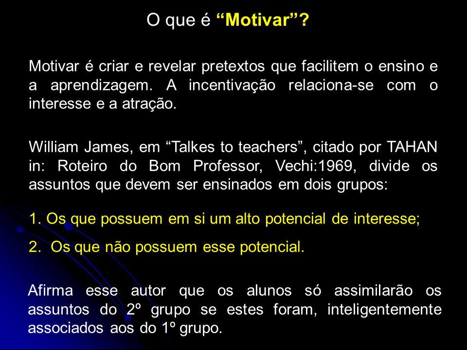 O que é Motivar .Motivar é criar e revelar pretextos que facilitem o ensino e a aprendizagem.