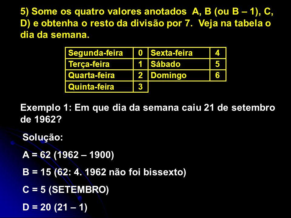 3Quinta-feira 6Domingo2Quarta-feira 5Sábado1Terça-feira 4Sexta-feira0Segunda-feira 5) Some os quatro valores anotados A, B (ou B – 1), C, D) e obtenha o resto da divisão por 7.