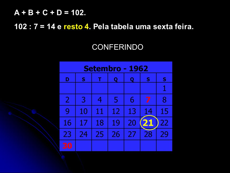 CONFERINDO A + B + C + D = 102.102 : 7 = 14 e resto 4.