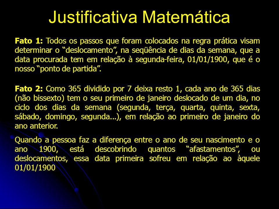 Justificativa Matemática Fato 1: Todos os passos que foram colocados na regra prática visam determinar o deslocamento , na seqüência de dias da semana, que a data procurada tem em relação à segunda-feira, 01/01/1900, que é o nosso ponto de partida .