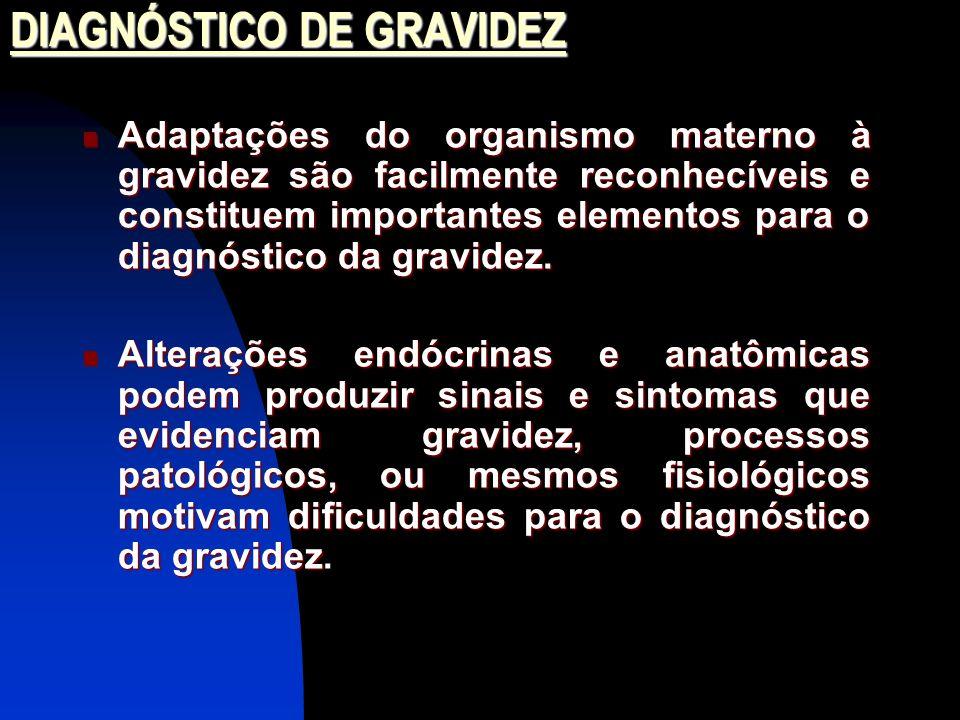 DIAGNÓSTICO DE GRAVIDEZ Adaptações do organismo materno à gravidez são facilmente reconhecíveis e constituem importantes elementos para o diagnóstico da gravidez.