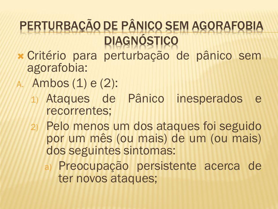  Critério para perturbação de pânico sem agorafobia: A. Ambos (1) e (2): 1) Ataques de Pânico inesperados e recorrentes; 2) Pelo menos um dos ataques