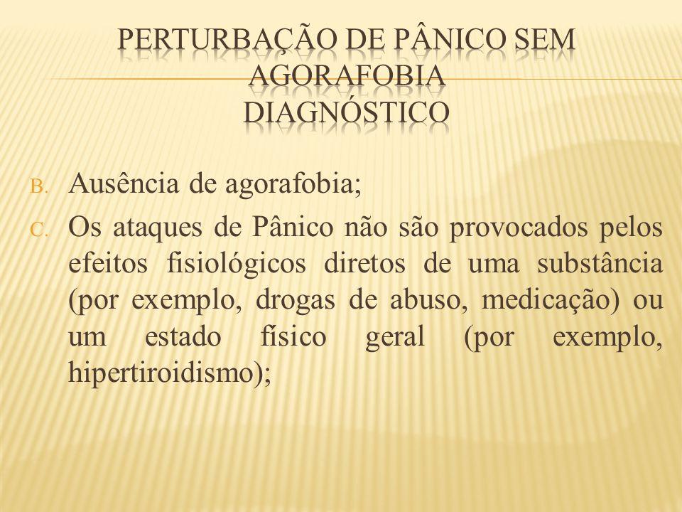 B. Ausência de agorafobia; C. Os ataques de Pânico não são provocados pelos efeitos fisiológicos diretos de uma substância (por exemplo, drogas de abu