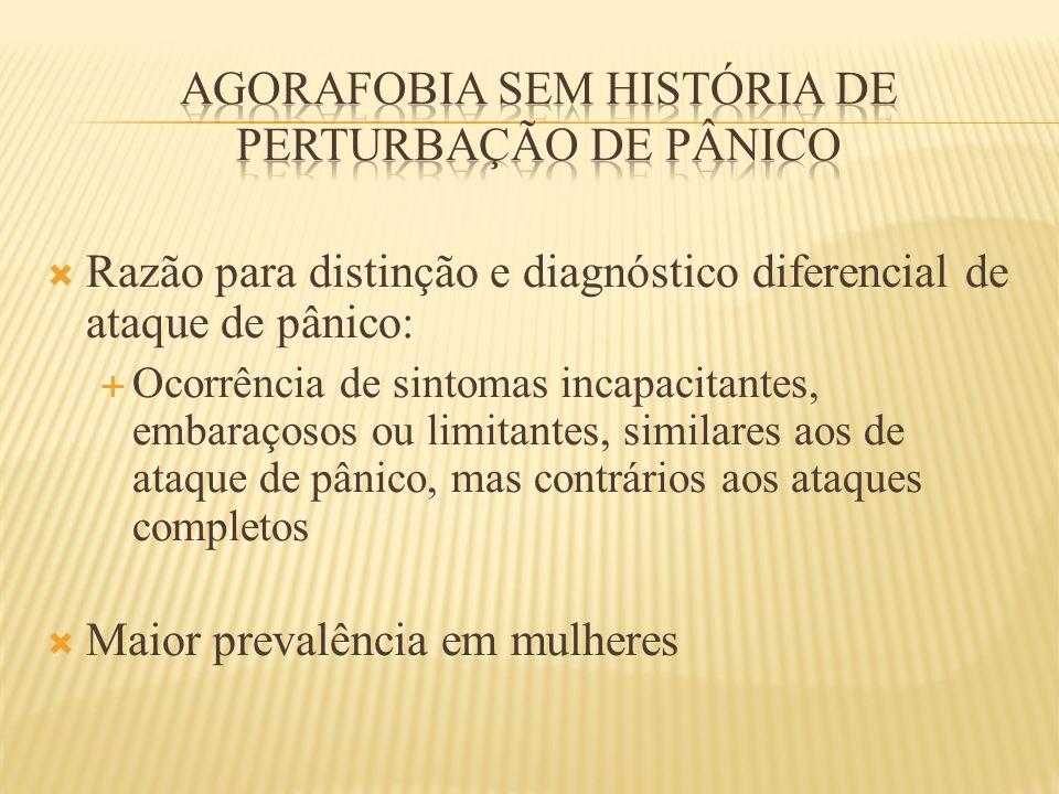  Razão para distinção e diagnóstico diferencial de ataque de pânico:  Ocorrência de sintomas incapacitantes, embaraçosos ou limitantes, similares ao