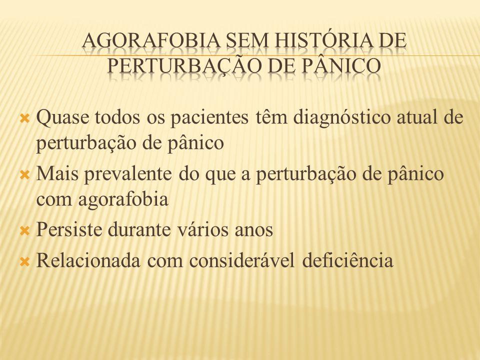  Quase todos os pacientes têm diagnóstico atual de perturbação de pânico  Mais prevalente do que a perturbação de pânico com agorafobia  Persiste d