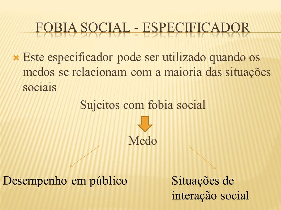  Este especificador pode ser utilizado quando os medos se relacionam com a maioria das situações sociais Sujeitos com fobia social Medo Desempenho em