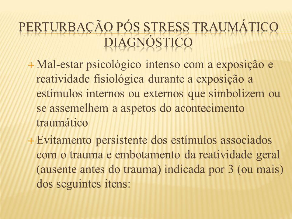  Mal-estar psicológico intenso com a exposição e reatividade fisiológica durante a exposição a estímulos internos ou externos que simbolizem ou se as