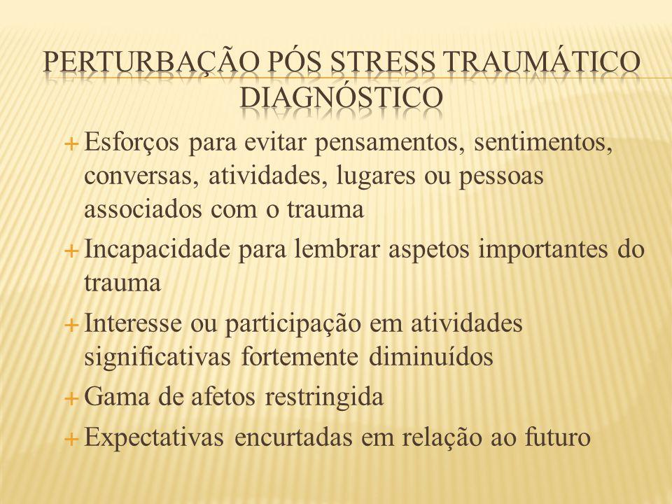  Esforços para evitar pensamentos, sentimentos, conversas, atividades, lugares ou pessoas associados com o trauma  Incapacidade para lembrar aspetos