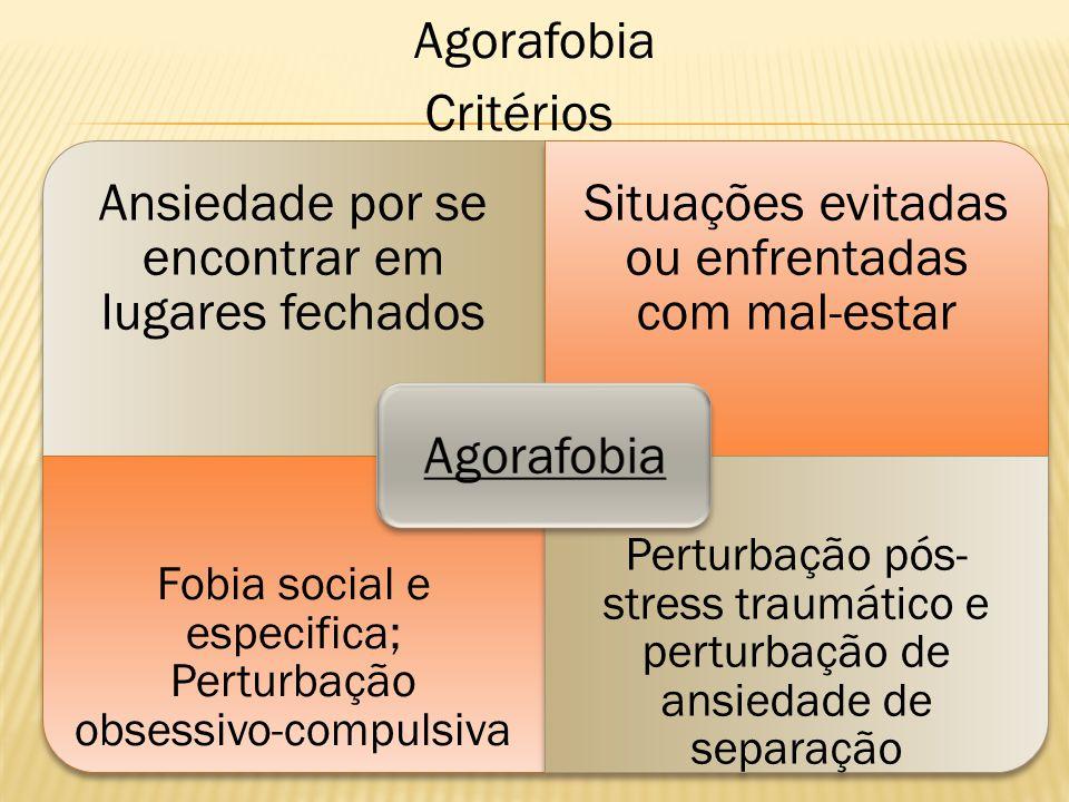 Agorafobia Critérios Ansiedade por se encontrar em lugares fechados Situações evitadas ou enfrentadas com mal-estar Fobia social e especifica; Perturb