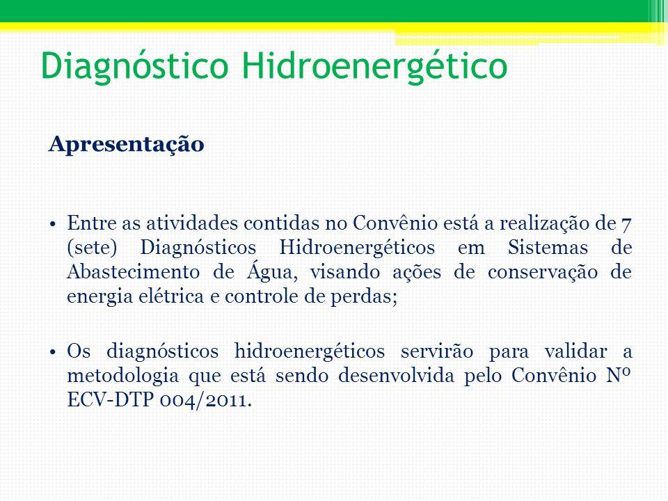 O objetivo dos diagnósticos hidroenergéticos nas cinco regiões do Brasil é a validação da metodologia até aqui desenvolvida pela Rede LENHS que apresentará em sua totalidade o documento intitulado Manual de Procedimentos para Realização de Diagnóstico Hidroenergético que por sua vez se traduzirá como uma ferramenta robusta com uso prático para as companhias de saneamento na avaliação de eficiência hidroenergética de sistemas de abastecimento.