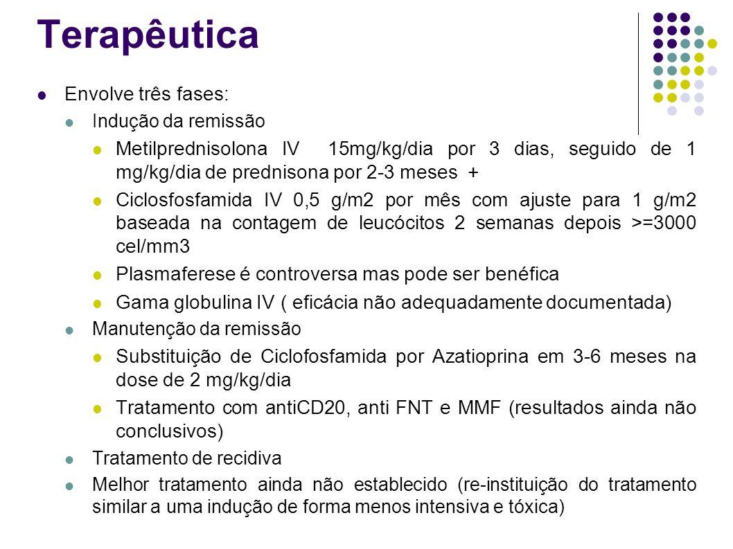 Terapêutica Envolve três fases: Indução da remissão Metilprednisolona IV 15mg/kg/dia por 3 dias, seguido de 1 mg/kg/dia de prednisona por 2-3 meses +