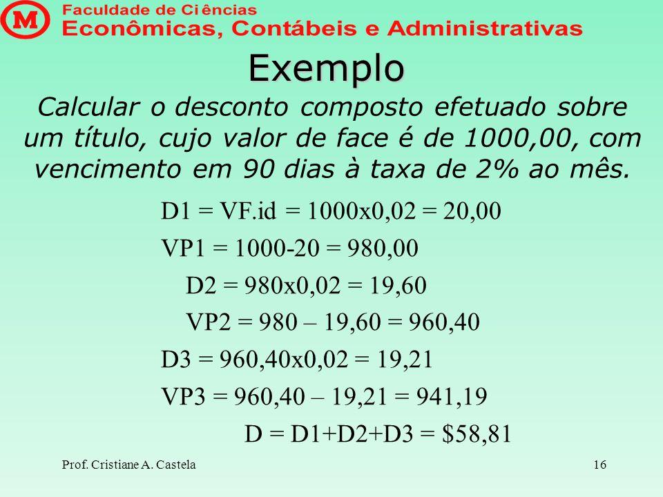 Prof. Cristiane A. Castela17 Fazendo as contas pela fórmula