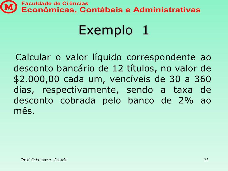 Prof. Cristiane A. Castela24 Solução Valor Líquido recebido: