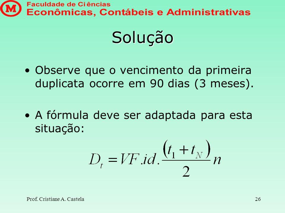 Prof. Cristiane A. Castela27 Solução