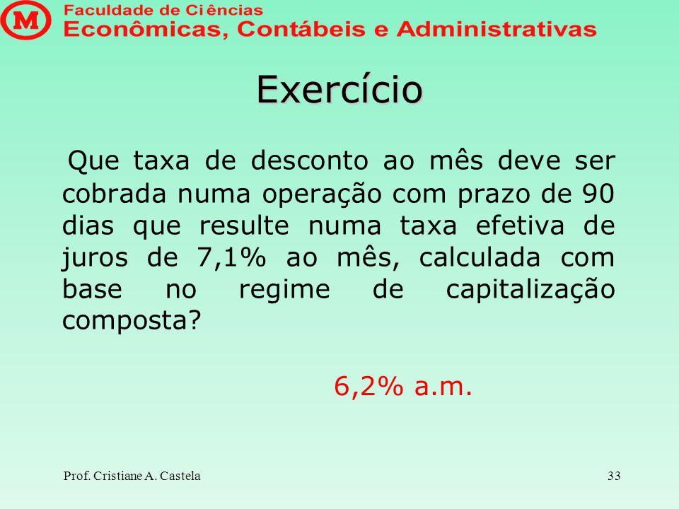 Prof. Ms. Cristiane Attili Castela Exercícios sobre Descontos com IOF Matemática Financeira