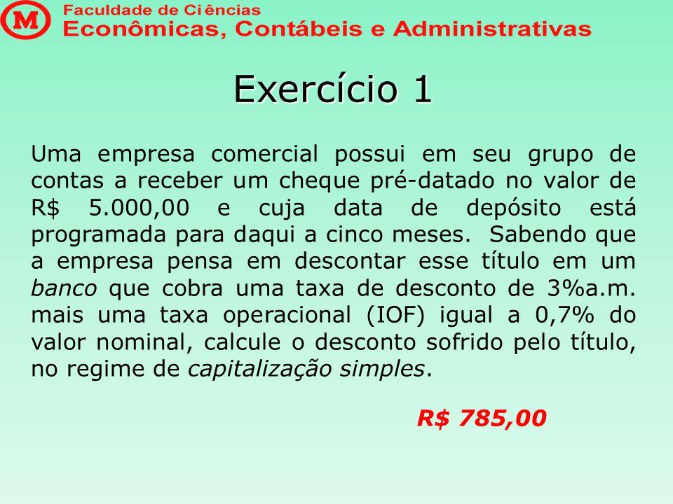 Exercício 2 A fábrica das Medalhas Milagrosas recebeu, líquidos, R$ 16.613,00, resultantes do desconto de uma nota promissória no valor de R$ 18.500,00.