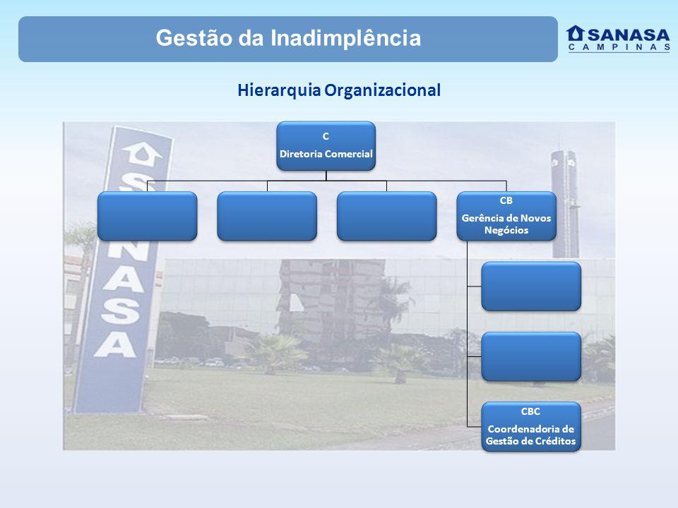 Gestão da Inadimplência Hierarquia Organizacional C Diretoria Comercial CB Gerência de Novos Negócios CBC Coordenadoria de Gestão de Créditos