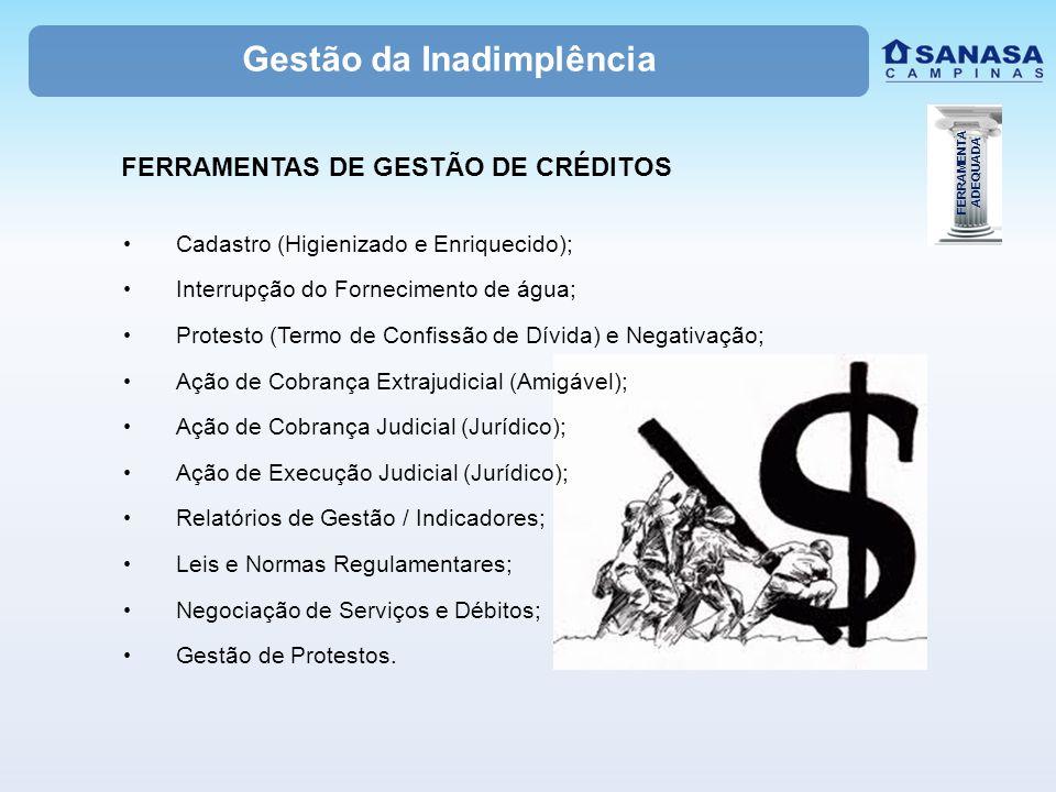 Cadastro (Higienizado e Enriquecido); Interrupção do Fornecimento de água; Protesto (Termo de Confissão de Dívida) e Negativação; Ação de Cobrança Extrajudicial (Amigável); Ação de Cobrança Judicial (Jurídico); Ação de Execução Judicial (Jurídico); Relatórios de Gestão / Indicadores; Leis e Normas Regulamentares; Negociação de Serviços e Débitos; Gestão de Protestos.