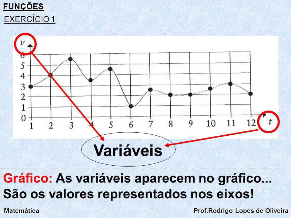 FUNÇÕES Matemática Prof.Rodrigo Lopes de Oliveira EXERCÍCIO 1 Variáveis Gráfico: As variáveis aparecem no gráfico... São os valores representados nos