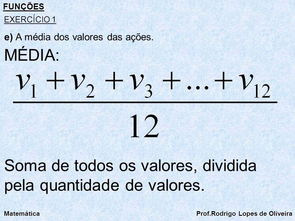 FUNÇÕES Matemática Prof.Rodrigo Lopes de Oliveira EXERCÍCIO 1 MÉDIA: Soma de todos os valores, dividida pela quantidade de valores. e) A média dos val