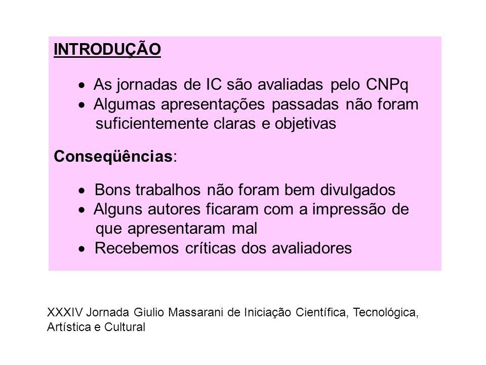 INTRODUÇÃO  As jornadas de IC são avaliadas pelo CNPq  Algumas apresentações passadas não foram suficientemente claras e objetivas Conseqüências: 