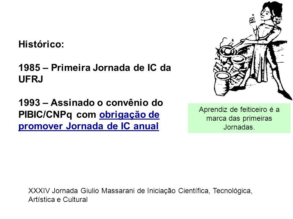 Histórico: 1985 – Primeira Jornada de IC da UFRJ 1993 – Assinado o convênio do PIBIC/CNPq com obrigação de promover Jornada de IC anual Aprendiz de fe