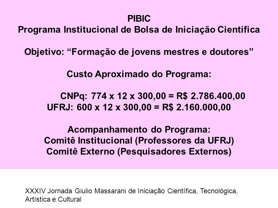 """PIBIC Programa Institucional de Bolsa de Iniciação Científica Objetivo: """"Formação de jovens mestres e doutores"""" Custo Aproximado do Programa: CNPq: 77"""