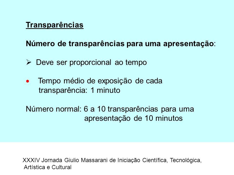 Transparências Número de transparências para uma apresentação:  Deve ser proporcional ao tempo  Tempo médio de exposição de cada transparência: 1 mi