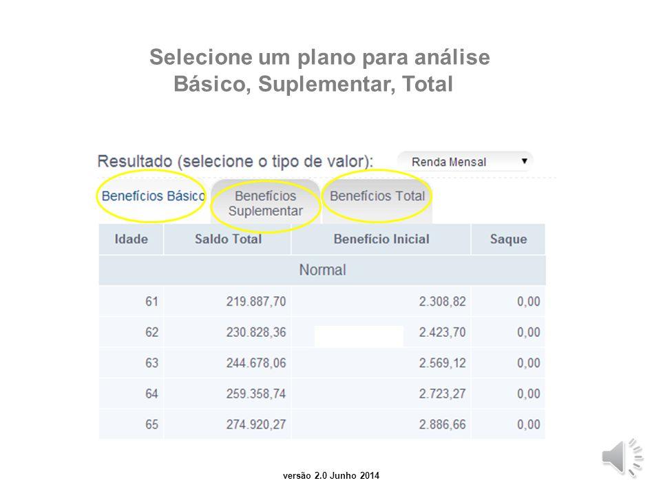 versão 2.0 junho 2014 Selecione um resultado para análise: renda mensal, resgate, evolução do saldo, contribuições