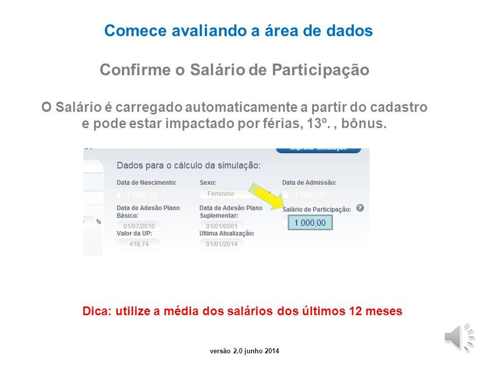 versão 1.0 Julho 2012 Conhecendo o simulador O simulador é composto por 3 áreas: Dados do participante Parâmetros de Simulação Resultados