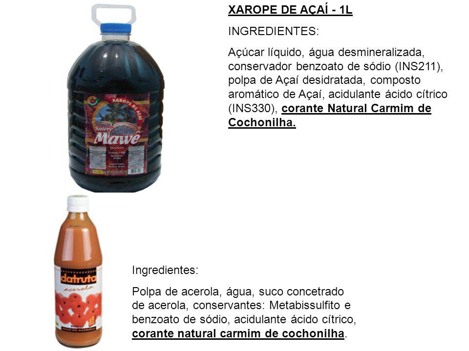 XAROPE DE AÇAÍ - 1L INGREDIENTES: Açúcar líquido, água desmineralizada, conservador benzoato de sódio (INS211), polpa de Açaí desidratada, composto ar